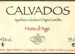 Ancienne étiquette du Calvados de la Cidrerie Hérout