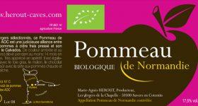 Etiquette actuelle du Pommeau de Normandie de la cidrerie Hérout