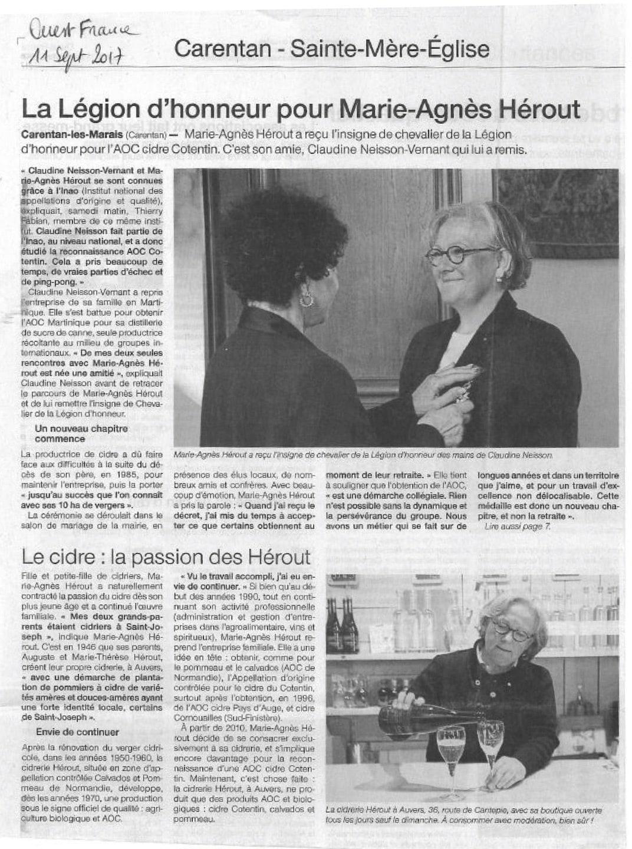 Article Ouest-France Remise de la Légion d'honneur 2