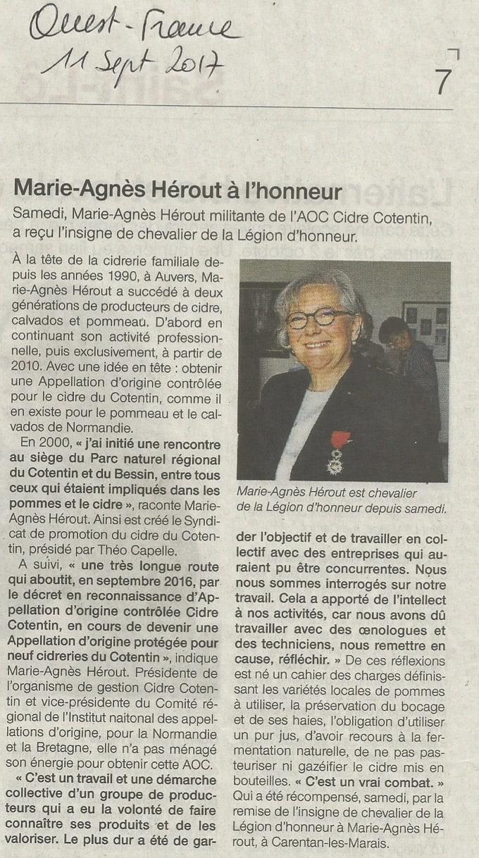 Article Ouest-France Remise de la Légion d'honneur