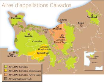 Carte des aires d'appellations du Calvados AOC