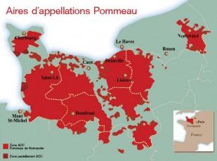 Carte des aires d'appellations du Pommeau de Normandie AOC