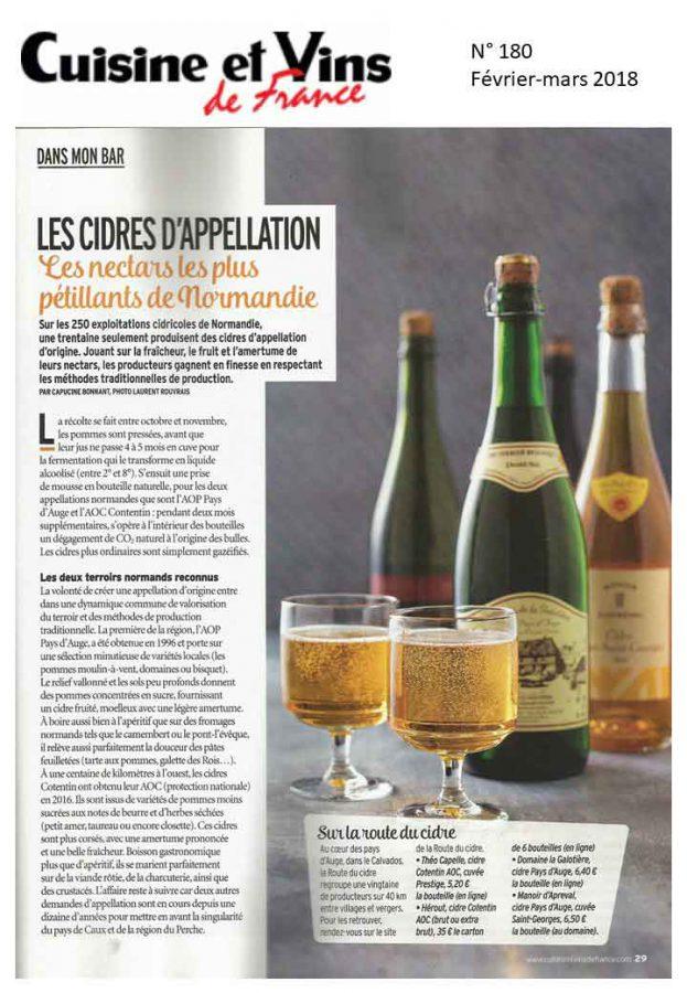 Article Cuisine et Vins de France Cidre Cotentin AOC